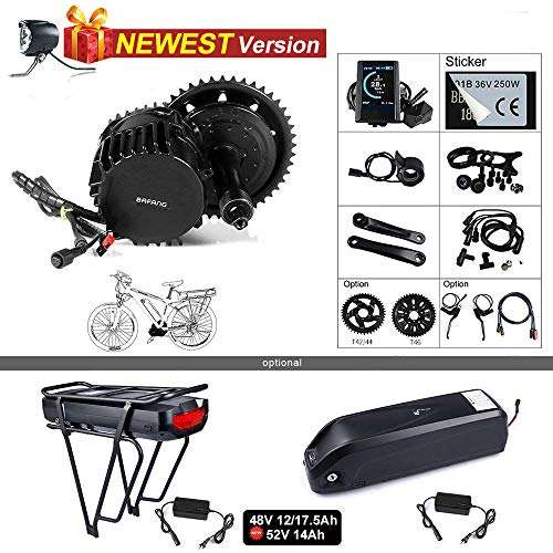 BAFANG BBSHD BBS03 48/52V 1000W Mid Motor Ebike Conversion Kit with Large Capacity Lithium Battery and Charger DIY Electric Bike Motor Kit