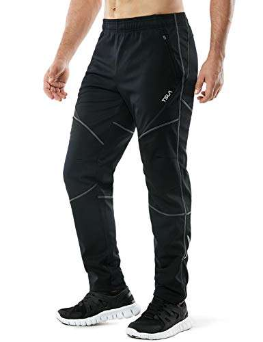 TSLA Men's Windproof Cycling Thermal Fleece Winter Pants Running Hiking Cold Active Bottoms Sweats