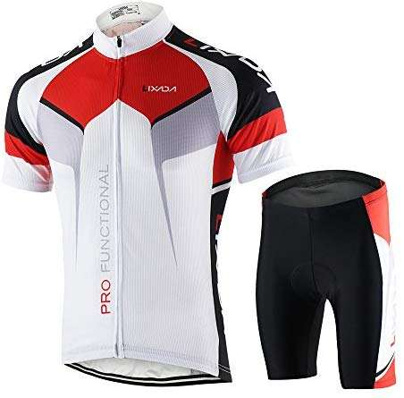 Lixada Men's Cycling Jersey Set Bicycle Short Sleeve Set Quick-Dry Breathable Shirt+3D Cushion Shorts Padded Pants/Bib Short