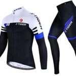 X-TIGER Men's Cycling Jersey Set Long Sleeve Winter,Biking Jersey+Gel Padded Pants,MTB Road Bike Bicycle Clothing Set