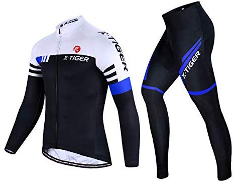 X-TIGER Men's Cycling Jersey Set Long Sleeve Winter,Biking Jersey+Gel Padded Pants,MTB Road Bike Bicycle Clothing Set