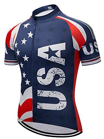 Cycling Jersey Short Sleeve USA Style Bike Tops with Pocket Reflective Stripe
