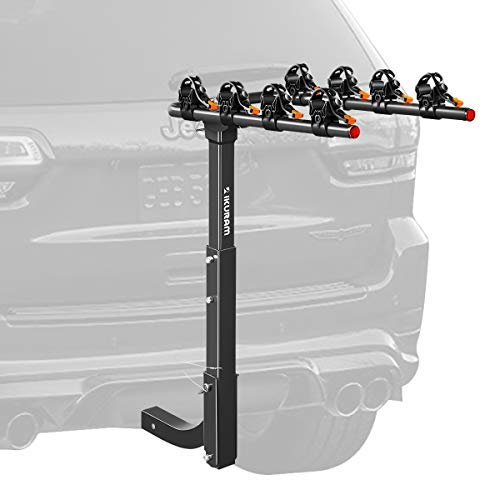 "IKURAM 2/3/4 Bike Rack Bicycle Carrier Racks Hitch Mount Double Foldable Rack for Cars, Trucks, SUV's and minivans with a 2"" Hitch Receiver(Best time to Buy)"