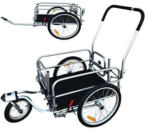 "2 in 1 20"" Wheels Cargo Utility Stroller and Bicycle Bike Trailer Beach Cart Silver Chrome"