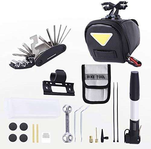 3-H Bike Saddle Bag, Bike Mini Pump, 16 in 1 Multifunction Bike Repair Tool with a Pouch, Steel Tire Levers, Bone Wrench, Self Adhesive Tyre Tube Patch