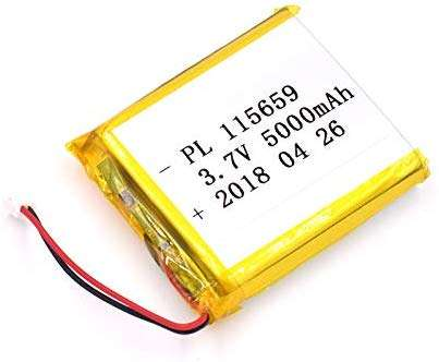 3.7V 5000mAh 115659 Lipo battery Rechargeable Lithium Polymer ion Battery Pack with JST Connector