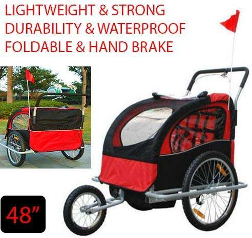 "48"" Lightweight & Strong Double Baby Bike Trailer Stroller Child Bicycle Kids Jogger Comfortable and Safe Ride Waterproof - Foldable - Hand Brake with Wheels & Hand Brand for Children"