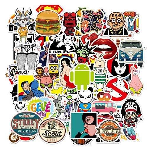 50 Pcs Funny Meme Stickers Laptop Car Skateboard Decals Waterproof Vinyl Sticker