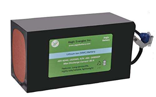 Aegis Battery 48V 40Ah Rechargeable High-Energy Li-ion Battery (PVC) with BMS System for e-Scooters, e-Bikes, Solar Applications, Robots