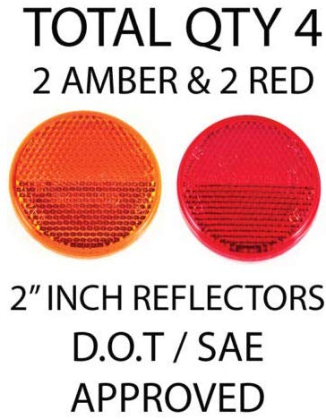 "All Star Truck Parts] Qty 4 (2 Red/2 Amber) - 2"" Inch Round Reflector Bike,Trailer, Truck, Boat, Mailbox with Super Strong Adhesive DOT/SAE Approved"