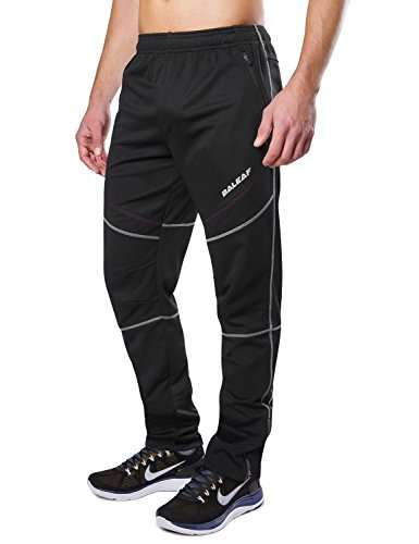 BALEAF Men's Bike Cycling Pants Fleece Athletic Pants Windproof Thermal Insulated Running Pants Zipper Pockets