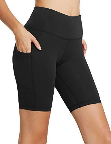 "BALEAF Women's 8"" /5"" /2"" High Waist Workout Yoga Running Compression Shorts Tummy Control Side Pockets"