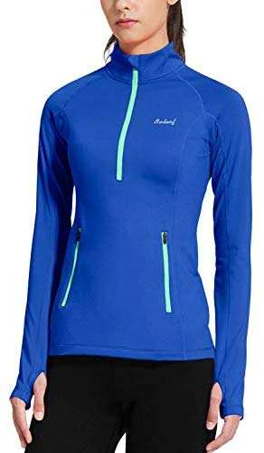 BALEAF Women's Thermal Fleece Half Zip Thumbholes Long Sleeve Running Pullover