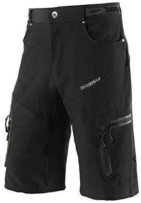BERGRISAR Men's Cycling Shorts MTB Mountain Bike Bicycle Shorts Zipper Pockets 1806BG