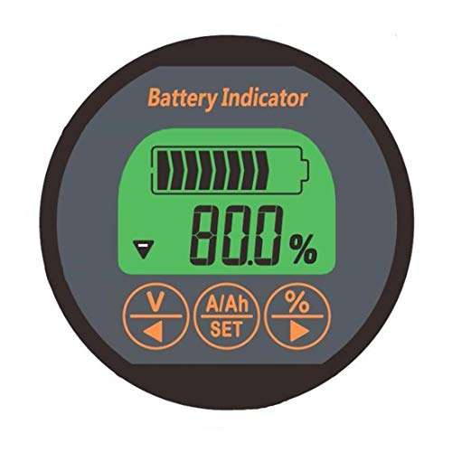 Battery Capacity Indicator Tester Meter Coulometer 54MM/2.1 Inch DC 8-80V 100A Battery Monitor for Portable Equipments E-bike Balance Cars Cleaning Machines Auto Car Motor Boat Caravan RV Motorhome