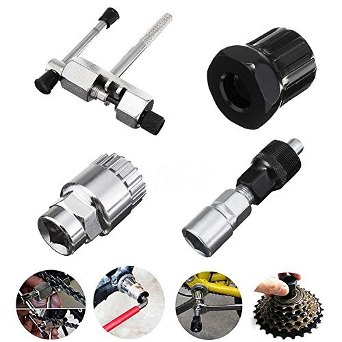 Bike Bicycle MTB Repair Tool Kit Bottom Bracket Remover + Bike Chain Breaker + Crank Extractor + Bottom Crank Bracket Removal Tool