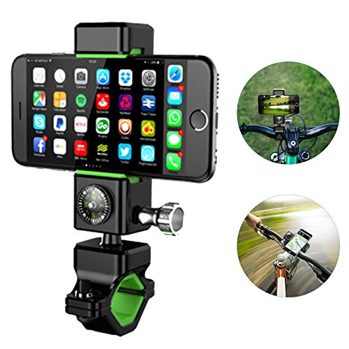 Bike Phone Mount Bicycle Phone Holder with Compass Handlebar Cradle Motorcycle 360°Rotation Adjustable Universal for iPhone X XS XR 8 7 6S 6 Plus Samsung S10 S9 S8 S6 Note 8 7 6 All Smartphone