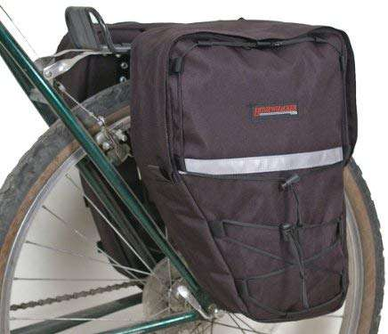 Bushwhacker® Moab Black - Bicycle Rear / Front Pannier Cycling Rack Pack Bike Bag - w/ Reflective Trim - Sold as Pair
