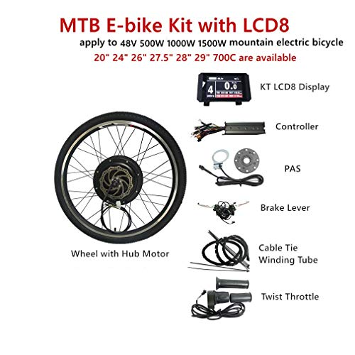 CSCbike MTB E-Bike Conversion Kit 36V 48V Mountain Electric Bicycle Rear Wheel Conversion Parts with KT LCD8 Display Controller PAS Brake Lever