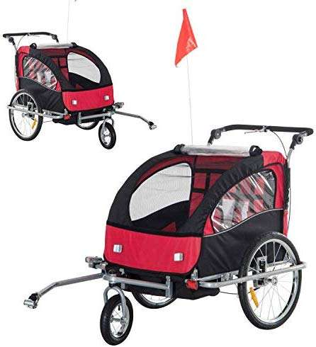 Cirocco Double Baby Bike Trailer Stroller Kid Bicycle Jogger Child Carrier Cart Seater Red | Heavy Duty Support 88Lbs Safe Comfort Ergonomic All Weather Canopy Foldable Portable | For Exercise Workout