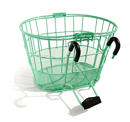 Colorbasket 02270 Mesh Bottom Lift-Off Bike Basket, with Handles, Powder Coated Steel