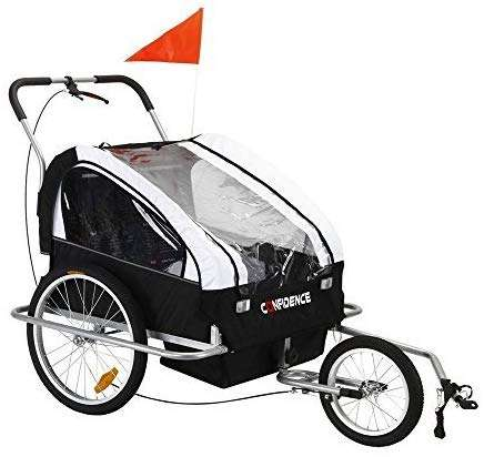 Confidence 2 in 1 Baby Bike Trailer w/ Suspension RED (Certified Refurbished)