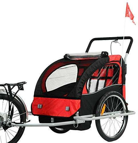 Cozinest New 2 in 1 Bicycle Carrier Double Infant Child Baby Bike Trailer Jogger Stroller