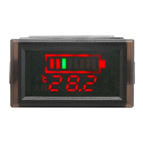 DROK Waterproof LED Digital Battery Volt Meter DC 12V 24V 36V 48V 60V 64V 72V Acid Lead Lithium Polymer Battery Capacity Indicator Thermometer Voltage Temperature Guage Monitor for Electromobile