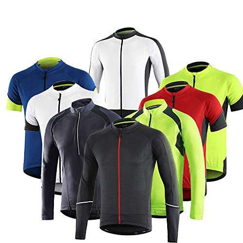 Dooy Men's Long/Short Sleeves Cycling Thermal Jersey,Fleece Bike MTB Shirts,Warm Biking Winter Jacket for Running