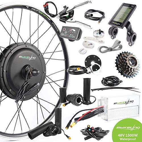 "EBIKELING 48V 1500W 26"" Direct Drive Rear Waterproof Electric Bicycle Conversion Kit"
