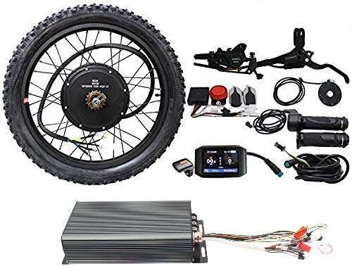 "EBike Conversion Kit 26"" 48V 3300W 60V 4200W 72V 5000W Rear Brushless Motor Wheel with 100A and 750C Color Display +D 700 Hydraulic Disc Brake+Alarm"