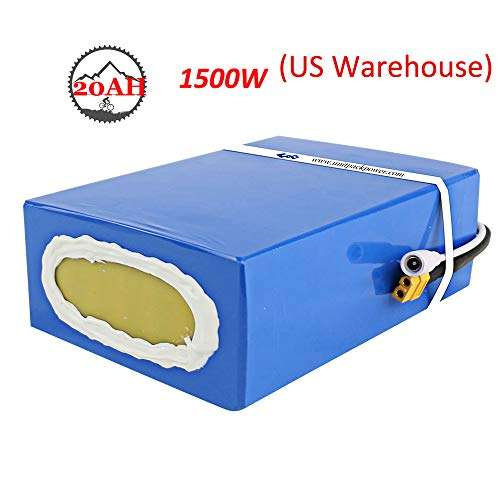 Ebike Battery 48V 20AH Waterproof PVC Lithium Battery Pack with Charger and 50A BMS Protection for Electric Bike 1500W 1000W Motor (US Warehouse)
