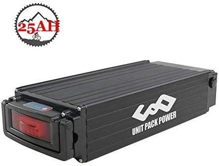 Ebike Battery 52V 25AH Lithium ion Battery with Charger, Taillight, Safe Lock, BMS Protection, Electric Bike Battery for 1000W 750W Motor