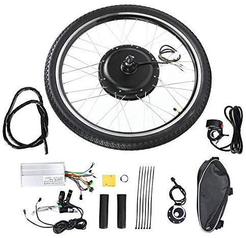 "Ebike Conversion Kit, 48V 1000W Electric Bicycle Kit, 26"" Front/Rear Wheel E-Bike Cycle Motor Conversion Kit Hub Motor Wheel with Intelligent Controller, Speed Adjustable"