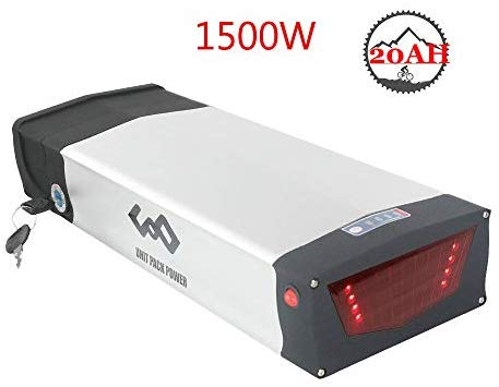 Electric Bike Battery 52V 20AH Lithium ion Battery with Charger, Taillight, Safe Lock, USB Port, Ebike Battery for 1500W 1000W 750W Motor