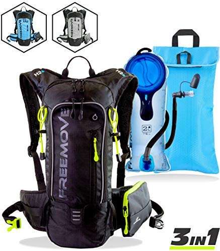 FREEMOVE Hydration Pack Backpack with 2L Water Bladder & Cooler Bag or Single Camel Backpack or External Pocket | Lightweight, Fully Adjustable, Leakproof, 10L Gear for Hiking, Cycling, Running, MTB