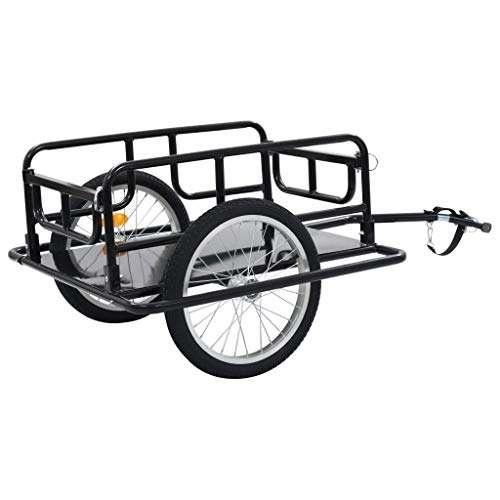 Festnight Bicycle Bike Cargo Trailer Luggage Carrier Trailer Steel Black