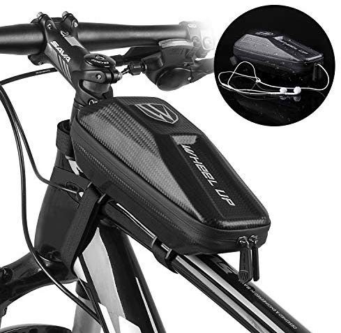 FlexDin Outdoor Bike Frame Bag Shockproof EVA Shell Waterproof Top Tube Bicycle Triangle Bag Pouch Tools Storage Huge Capacity for Bike Accessories Black