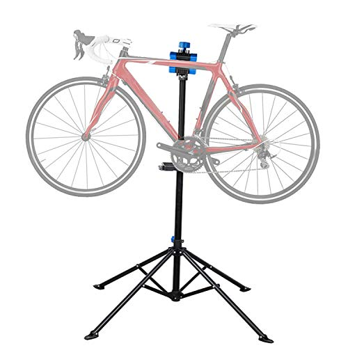 "Flexzion Bike Repair Stand Workstation, Bicycle Maintenance Workstand, 41""-75"" Adjustable Foldable Cycle Rack, Lightweight, w/Tool Tray, Telescopic Arm & 4 Feet Base for Home Mechanic Workshop"