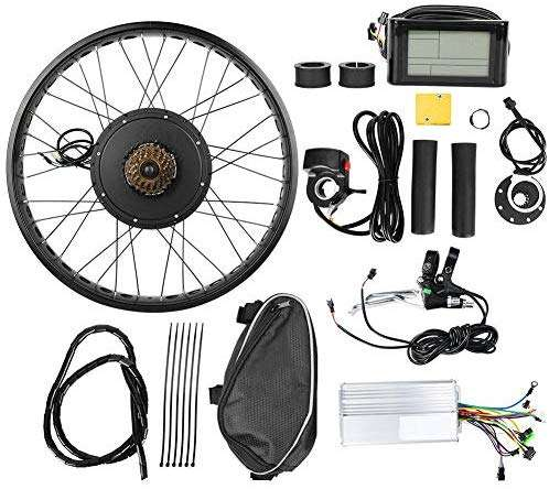 Focket E-Bike Conversion Kit, 26x4inch Wheel 48V 1000W 28N.M Max Torque Electric Bicycle Hub Motor Kits IP54 Waterproof Powerful Controller Set Electric Bike Wheel Kit with LCD Meter