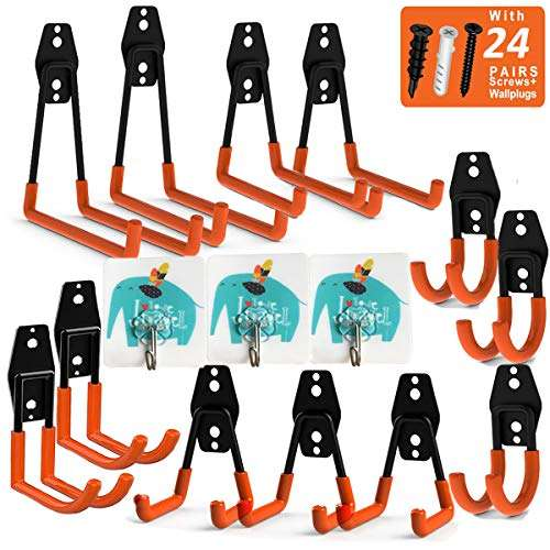 Garage Hooks Utility Hooks, UNIHAO 12 Pack Storage Heavy Duty Hooks Ladder Holders Garden Tool Hangers Organizer Wall Mount for Hanging Power Tools, Ropes, Bikes, with 3 Adhesive Wall Hooks