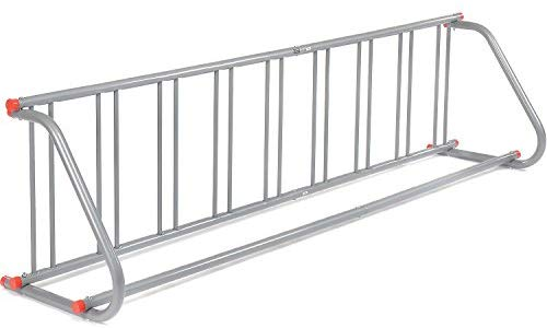 "Global Industrial 111"" L All-Steel Grid Rack - 9 Bikes - Galvanized Finish with Riveted Grid Poles"