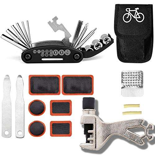 GoTravel2 Mini Bike Repair Tools Kits - 16 in 1 Bicycle Essential Multi tools Set, Portable Bike Kit Repair Set, Bike Tool Bicycle Repair Kit Bicycle Tools Tire Patch Levers for Bicycles (kit)