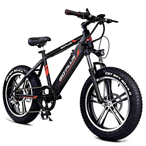 "Goplus 20"" Electric Mountain Bike Bicycle E-Bike Fat Tire 17MPH Max Speed with Removable 48V 350W Lithium Battery, Charger and Shimano Speed Shifter"