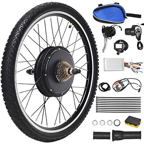 "Goplus 48V 1000W Electric Bicycle Kit, 26""x1.95"" Rear Wheel E-Bike Cycle Motor Conversion Kit Hub Motor Wheel with Intelligent Controller, LCD Display and Speed Adjustable"