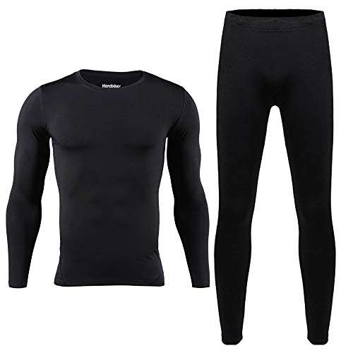 HEROBIKER Men Thermal Underwear Set Winter Skiing Warm Top & Bottom Thermal Long Johns Black
