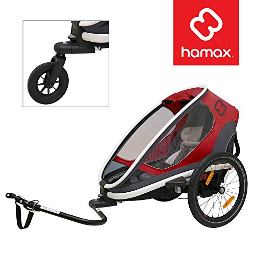Hamax Outback Multi-Sport Child Bike Trailer + Stroller (Jogger Wheel Sold Separately) (One Seat, Red/Black)
