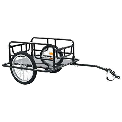 Heitamy Bicycle Trailer Folding Bicycle Cargo Trailer Bicycle Storage Carrier with Steel Frame Bike Trailer Cargo for Carrying Heavy Goods Furniture Trees