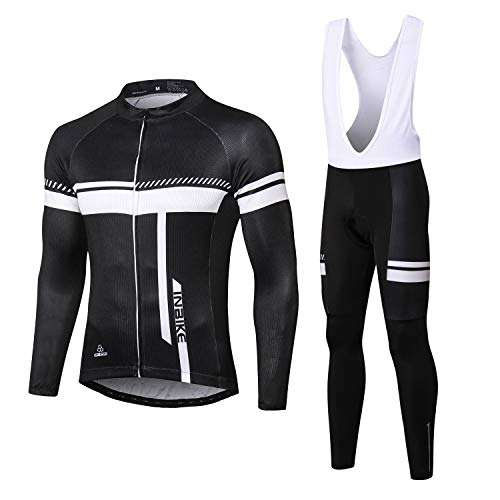 INBIKE Men's Cycling Jersey Set Moisture Wicking Breathable Quick-Dry Full Zip Long Sleeve Bike Shirt with 3D Padded Sports Pants