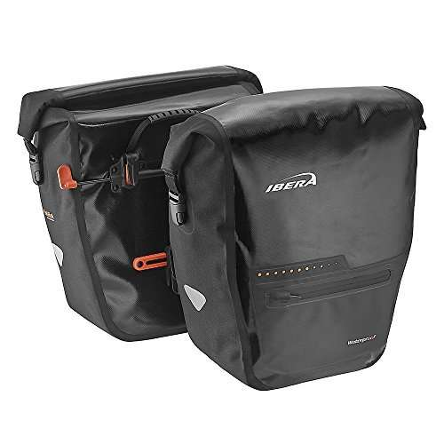 Ibera Bike Pannier Bag - PakRak Clip-On Quick-Release Waterproof Bicycle Panniers (Pair)
